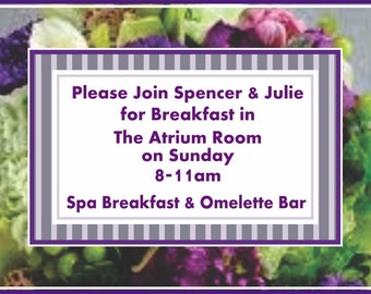 Wedding Hotel Bag Brunch Cards - 4 inch - Welcome Tags - Customizable