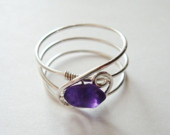 Amethyst Ring  Amethyst Jewelry  February Birthstone  Solid Gold Rings for Women  White Gold Ring  Rings  14K Solid White Gold Ring