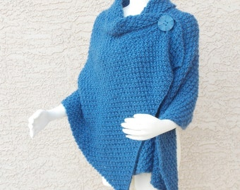 Handmade Hand Knit Shawl, Knitted Wrap, Knit Cape Cobalt Blue Chuncky Plus Sizes Available