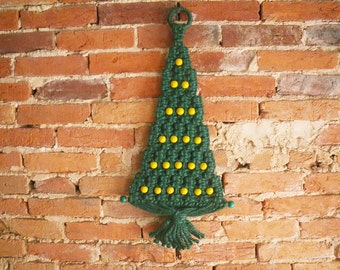 Vintage Macrame Christmas Tree - bell and beads - 1970s