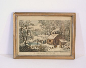Vintage Currier and Ives Framed Print, A Home In The Wilderness