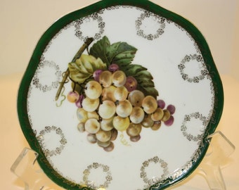Bavarian Porcelain Plate with Grapes, Hand Decorated, Gold Trim