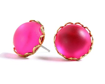 Matte frost pink hypoallergenic surgical steel post earrings (414) - Flat rate shipping