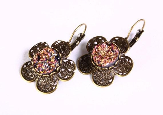 Antique brass flower gold and pink faux dusy leverback dangle earrings - Faux Druzy earrings - Cadmium free earrings (810)