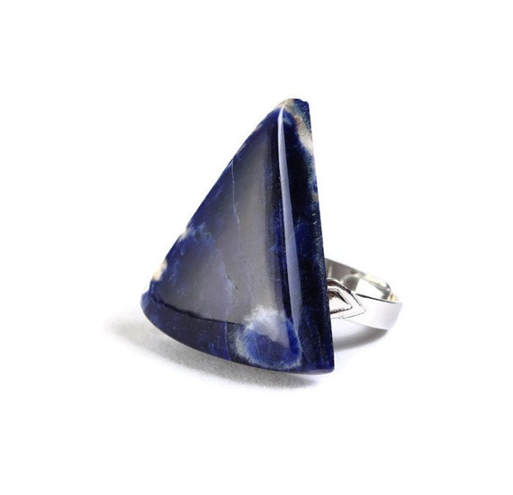 Unique natural Sodalite adjustable silver ring OOAK (767X) - Flat rate shipping