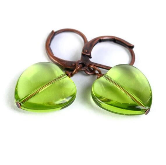Green heart glass antique copper leverback dangle earrings (383) - Flat rate shipping