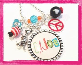 Personalized Necklace - Cameo Setting - KANGAROO LOVE - Bezel Necklace  - Pendant Jewelry #B37