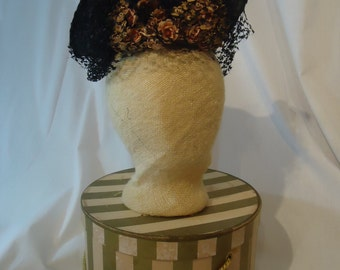 Vintage Black Straw and Hat Box, Beautiful Netting and Flowers High Brim