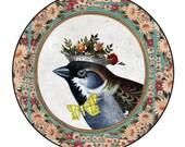 Whimsical Vintage Portrait ... Large Pocket Mirror of a Bird King