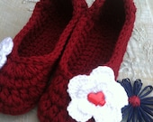 Women's Crochet Red Slippers | Red Crochet Slippers | Hand Crochet Slippers | House Shoes | Crochet Booties | Slippers