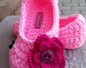 Women's Crochet Pink Slippers | Pink Crochet Slippers | Hand Crochet Slippers | House Shoes | Crochet Booties | Slippers