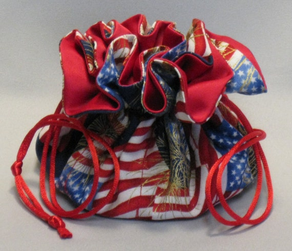 Jewelry Travel Tote---Drawstring Organizer Pouch---American Flag---Medium Size