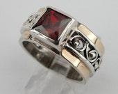 Garnet Ring, 9K Yellow Gold Silver filigree Garnet Ring size 7, Red Stone Ring, Yellow Gold Ring, 9k Garnet Gold Ring (s r1662)
