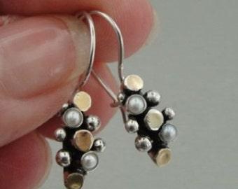 Hadar Gold Silver Pearl Earrings (I e440) y