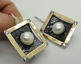 New Israel Modern Art amazing 9k Gold 925 sterling Silver White Cz and pearls earrings (se2196a)