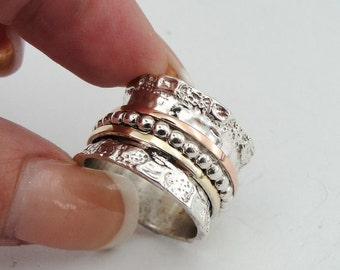 Fine Great 9K Gold and 925 Sterling Silver Swivel Wedding Band, Meditation Ring  size 7 and 9, Ready to ship (d r1505)