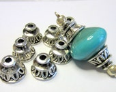 30 Bead caps antique silver ethnic jewelry spacer beads earring making supplies no lead no nickel B9264-U3