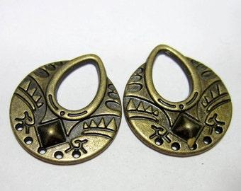 6 Antique bronze earring Chandelier  Findings 25mm x 22.5mm  456ykg-F6