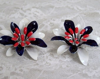 Enamel Flower Clip Earrings, Red, White and Blue, Patriotic, Estate Jewelry, Americana Jewelry, Statement Piece