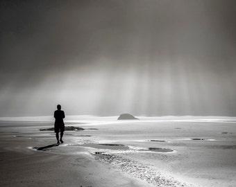 Beach Photography, Ocean Photograph Coastal Sand Sunbeams Coast Shore Black White Neutral Colors Wall Art nat115