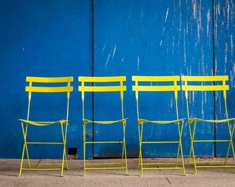 Photo Bold Colors, Yellow Chairs Blue Background Lemon Dramatic Bright Wall Art Home Decor Fine Art Print oth48