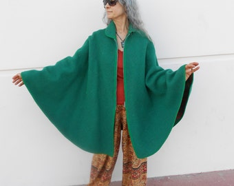 Awesome Reversible Wool Cape - Green & Green/Orange Plaid