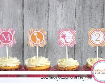 Giraffe Birthday Cupcake Toppers (pink), DIY, Printable