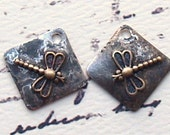 2 - Rustic Soldered Dragonfly Charms Pendants Bohemian Charm Copper Brass Metalwork, Metalsmith, Mixed Metals