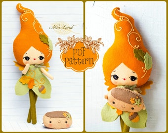 PDF. Autumn fairy doll. Plush Doll Pattern, Softie Pattern, Soft felt Toy Pattern.