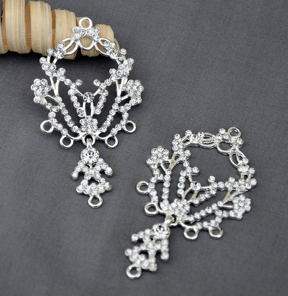 6 pcs Crystal Rhinestone Chandelier Earring Finding Bridal Earwire Silver Plated FREE combine shipping US EF036