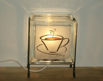 Coffee Cup lamp upcycled handmade Glowblock glass block night light FREE SHIPPING kitchen counter lamp coffee lover gift coffe art caffeine