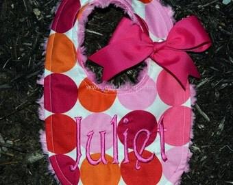 Flamingo Dot Baby Bib-Sorbet Pink Minky Swirl-Personalized-Baby Girl