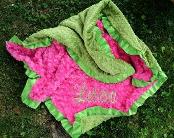 Baby Girl Minky Blanket-Kiwi Minky-Hot Pink Minky Swirl-Satin Ruffle-Personalized-Baby Girl-Toddler-Stroller-Crib Blanket