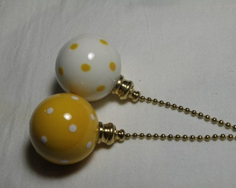 Set of Pottery Ball Ceiling Fan/Light  Pulls - Sunflower Yellow and White Polka Dotted - Made in the USA