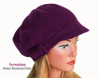peaked cap lila  boho  hat wool  flower