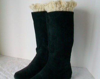 Ruffled boot cuffs, Warm wool, Boot accessory, Winter accessory, Boot bling