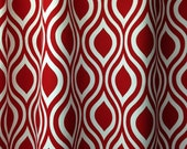 """Pair of designer drapes, two 50"""" wide curtain panels, Nicole lipstick red and white"""