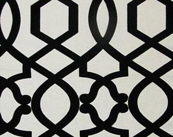 Pair of designer curtain panels, Iman Sultana lattice black and ivory noir cotton flocked velvet.