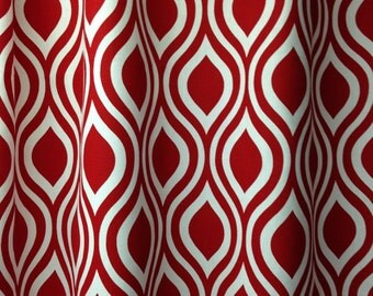"Pair of designer drapes, two 50"" wide curtain panels, Nicole lipstick red and white"