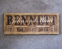 Personalized Family Last Name Signs custom wedding gift CARVED Wooden Fleur de lis Couples Established Anniversary Wine Cellar Present Gift
