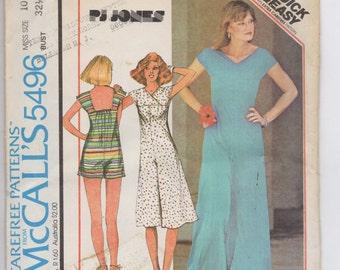 Vintage Woman's Jumpsuit Pattern - Retro 1970s Fashion - UNCUT  McCalls Sewing Pattern 5496 Size 10