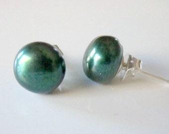 Pearl Studs, Freshwater Pearl Earrings, Green Pearl Earrings, Pearl Post Earrings, June Birthstone, Green Earrings, Emerald Green Earrings