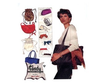 1980s Leather Fashions Bags and Belts Pattern Drawstring Purses Shoulder Bag Vintage Sewing Pattern McCalls 3362 Tandy Leather Or Synthetic