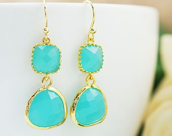 Wedding Jewelry Bridesmaid Gifts Bridesmaid Earrings Dangle Earrings Gold Framed Sea Foam Mint Opal glass drop Earrings Christmas gift