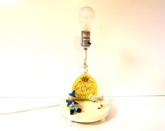 Vintage 1977 Irmi Nursery Music Box Lamp with Farmer Boy