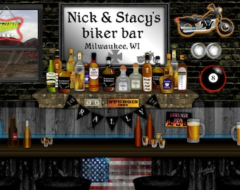Biker Bar, personalized art print, American biker, biker chick, shots of whiskey, bourbon beer, biker wedding, motorcycle art, housewarming