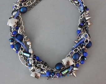 Cobalt Blue and Silver Beaded Chain Metallic Multistrand Chunky Statement Spike Necklace