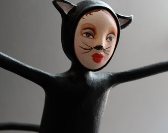 Kitten for Candy - One of a Kind Doll - Halloween - Figurative Sculpture - OOAK - Trick or Treat
