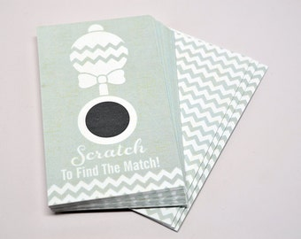 20 Stylish Gray Scratch Off Cards - Baby Shower Game - Baby Shower Party Games