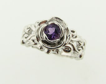 Victorian Band, a la Rose: Amethyst and Silver